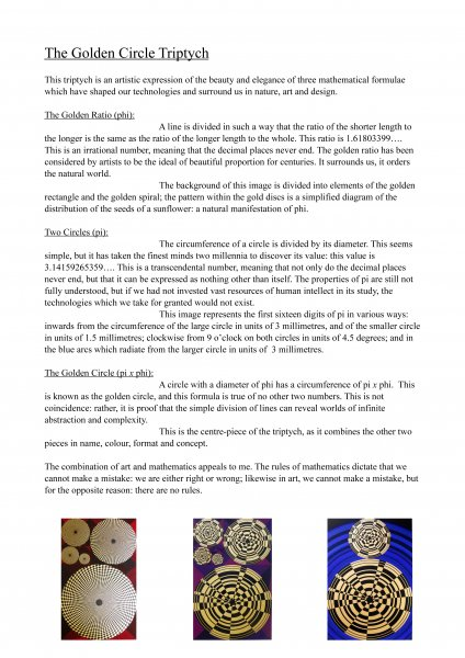 The Golden Circle Triptych - notes