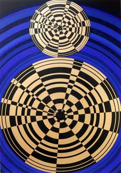 Two Circles: pi (acrylic/ink/gouache)