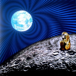 The Monkey Who Made It To The Moon (lithograph/screen-print)